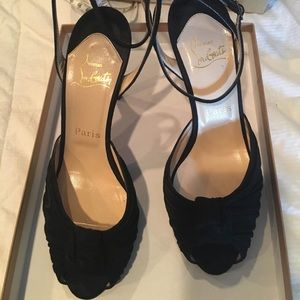 Christian Louboutin Gres's Black Suede Mule 100